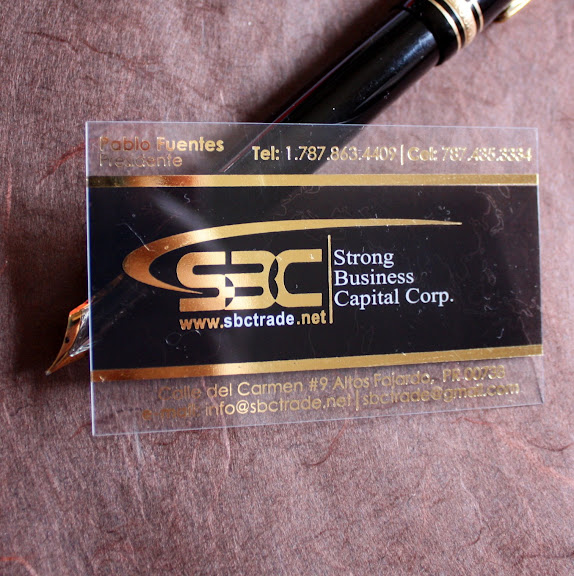 transparent plastic business cards + hot foil stamping