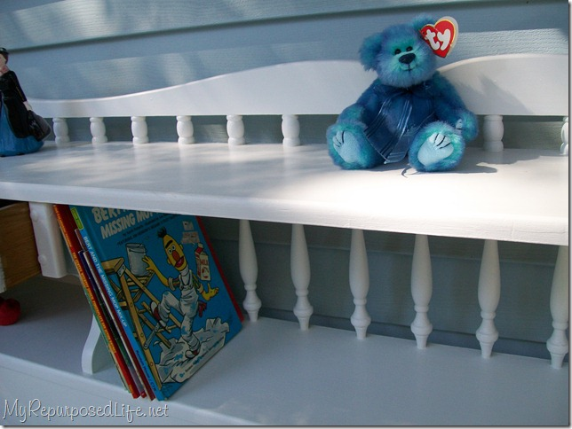 bookcase headboard repurposed