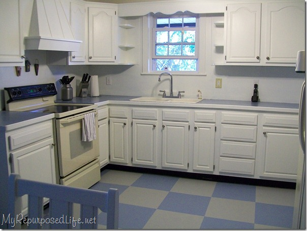 painted floor white cabinets
