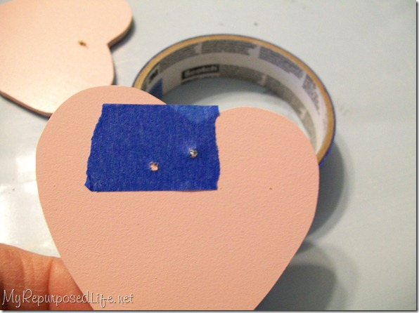 wooden heart painted pink