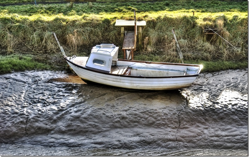 small wooden boat at saltfleet in colour