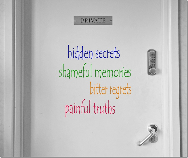 hidden secrets and shameful memories behing a locked door