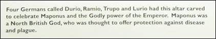 romano british altar description card