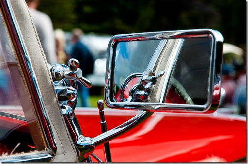 rear view side mirror on classic mg sportscar