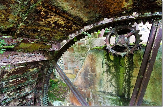 interior detail of derelict waterwheel at disused watermill