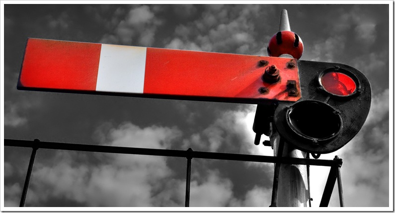 gwr semaphore signal arm at danger enhanced bw