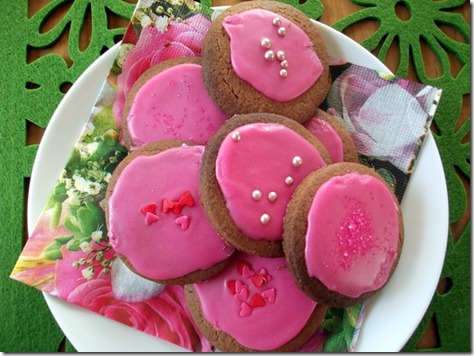 Pink iced biscuts