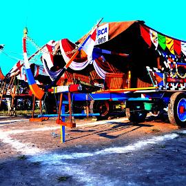 Festival Gerobak Sapi Jogjakarta by Tando Indra - Transportation Other ( beautiful, artistic, cow, transportation, blue, orange. color )