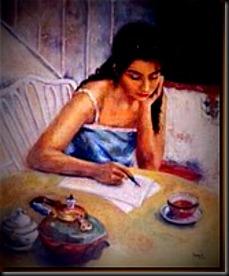 Mulher escrevendo carta (LINDO)
