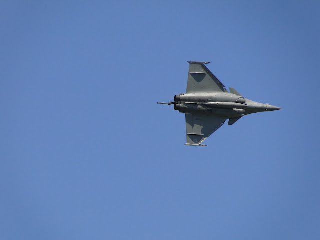 French Air Force RAFALE multirole fighter aircraft aerobatics during airshow