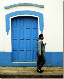blue door man