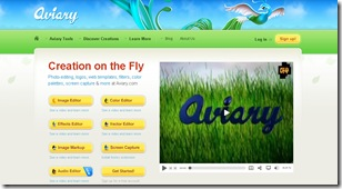 Aviary (screenshot da página inicial)
