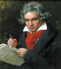Pintura de Ludwig van Beethoven compondo a Missa Solemnis (Joseph Karl Stieler, 1820, em Wikimedia Commons)