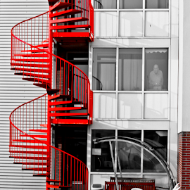 Red Stairs by Edit Peterffy - Buildings & Architecture Architectural Detail ( old, building, stairs, red, edit, house, man, selective color, pwc )