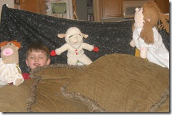 Grandkids puppet show
