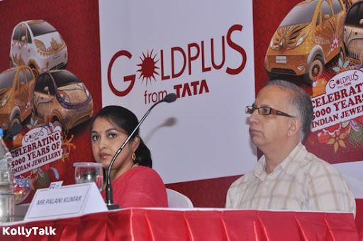 Ramya Krishnan and Titan Industries COO  C K Venkataraman at GoldPlus Nano design launch