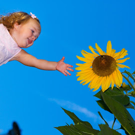 Sunflower Snatcher by Gary Piazza - Babies & Children Children Candids ( sunflowers, summer, children, Hope )
