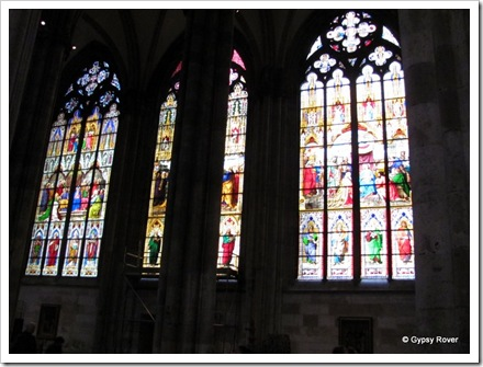Beautiful stained glass windows in Cologne cathedral.