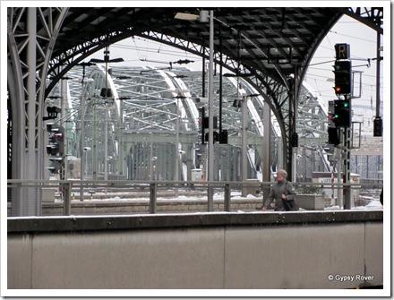 Rail bridge's over the river Rhine outside Cologne station.