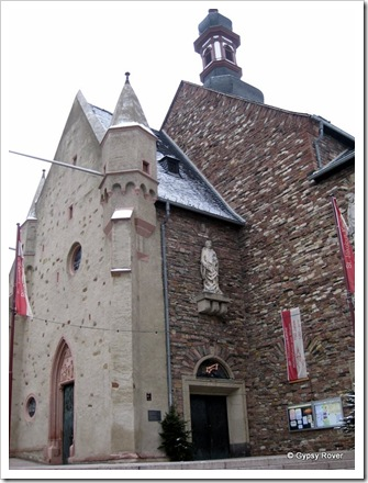 Rudesheim's St James church which was bombed on 25th November 1944 and since rebuilt 1946-56.