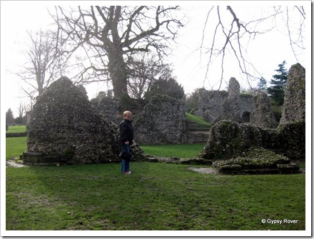 Elizabeth at Bury St Edmunds Benedictine Abbey ruins