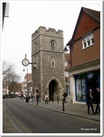 Canterbury clock tower. All that remains of St Georges church after a bombing raid in 1942.