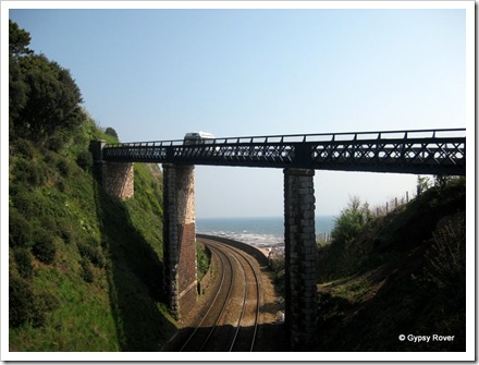 The main railway line to Paignton along the seafront at Teignmouth.