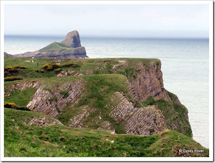 The cliff's out to Worms Head, Rhossili Bay.