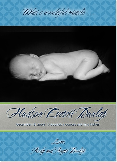 dunlap baby announcement print