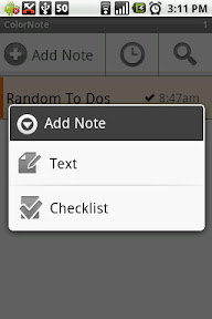 "ColorNote allows you to choose either a simple text note or a ""to do"" kind of checklist"