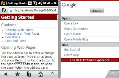 The main page with and withou the address bar and the navigation buttons. The text renders very well