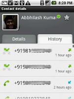 The contacts details page shows a call history for that particular contact, apart from the usual details