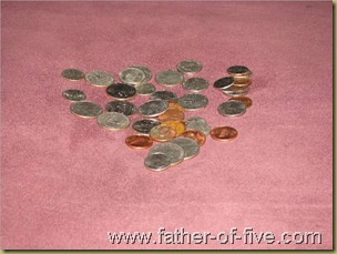 """Pile of """"found in the couch"""" change"""