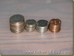 """""""Found in the couch change"""" - neatly stacked up!"""