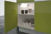 Low-contrast light in cabinets simplifies