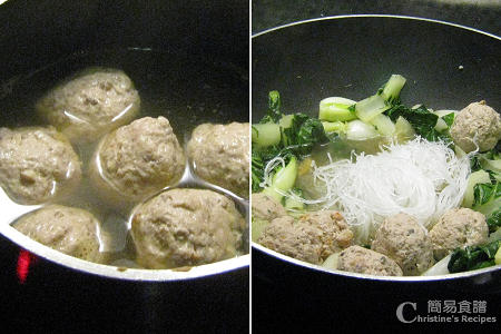 白菜粉絲煮肉丸製作圖 Fried Bok Choy with Meat Balls Procedures