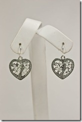 Lg Dainty Silver heart earrings