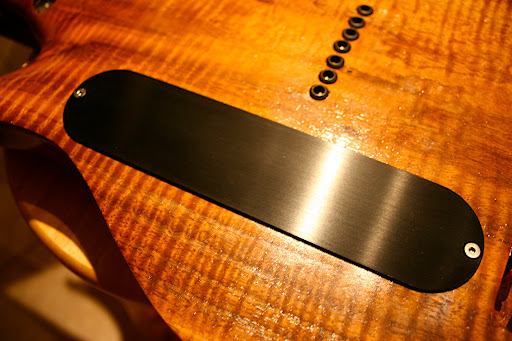 New brushed anodized aluminum control plate cover made for me by Dave Wescott at Frets On The Net.