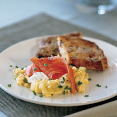 Smoked Salmon and Leek Scramble with Meyer Lemon Crème Fraîche