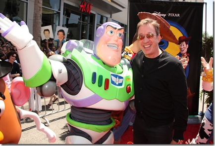 "HOLLYWOOD, CA - JUNE 13: Buzz Lightyear and Tim Allen at the World Premiere of Disney/Pixar's ""Toy Story 3"" on June 13, 2010 at the El Capitan Theatre in Hollywood, California. (Photo by Eric Charbonneau/Le Studio/Wireimage)"