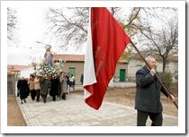 Un momento de la procesión de Santa Bárbara que en la mañana de este jueves, 4 de diciembre, ha discurrido por las calles de El Calvario.