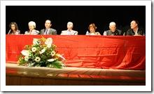 De izquierda a derecha, Elisabeth Porrero, Nicolás del Hierro, Luis Díaz-Cacho, Vicente de Gregorio, Pilar Serrano de Menchén, Luis Romero de Ávila y José González Ortiz.