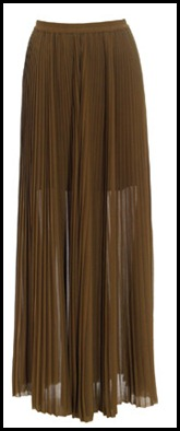 Acne Pleated Maxi Skirt in Khaki Green