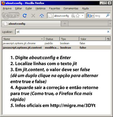 Desativar JIT Firefox