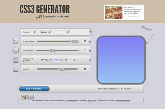 CSS3 Generator Caja con propiedades CCS3