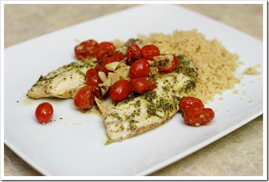 Tilapia with Lemon Pesto and Oven Roasted Tomatoes