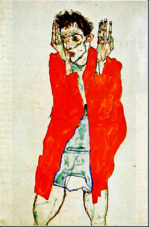 egon schiele - self portrait with raised arms - 1914