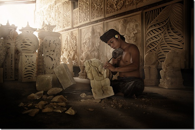 Balinese Stone Carver At Work