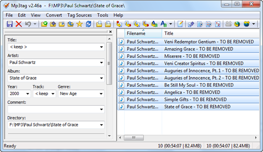 Figure 2 – Mp3tag listing 10 MP3 files before the batch processing