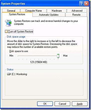 System Restore Windows XP